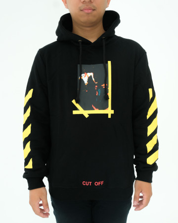 OFF WHITE HOODIE - BLACK YELLOW - 62020