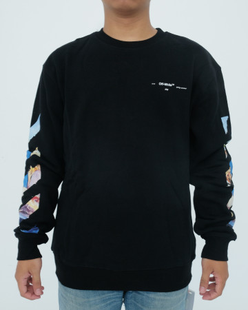 Off White Diagonal Colored Arrows Longsleeve Tee - Black - 62074