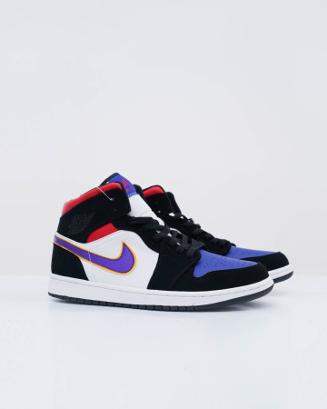 Jordan 1 Mid Black Toe - White Black Gym Purple - 13671