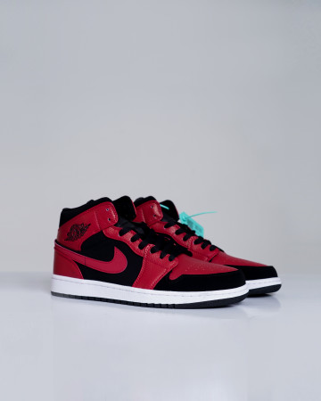 Jordan 1 Mid Reverse Bred - Black White Gym Red - 13680