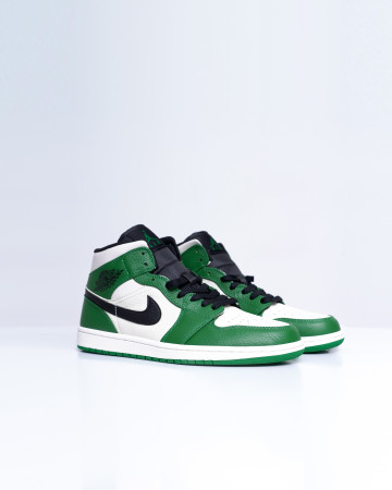 Jordan 1 Mid Pine Green - Sail Black - 13684