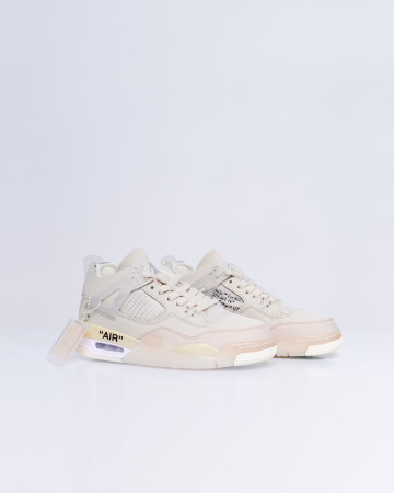 Jordan 4 Retro Off-White (W) - Sail Muslin Black White - 13690