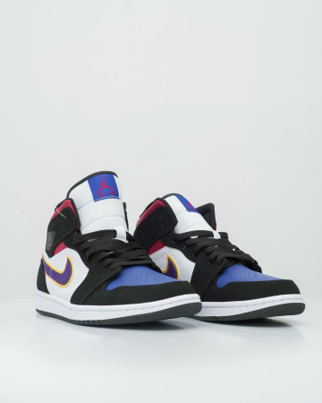 Air Jordan 1 Mid Lakers Top 3 - Black/Field Purple-White-Gym Red-Rush Blue-Amarillo - 761024