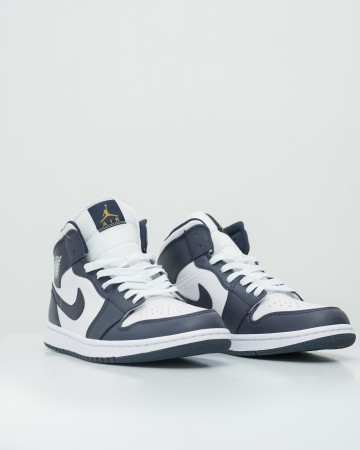 Air Jordan 1 Mid White Metallic Gold Obsidian - White/Metallic Gold-Obsidian - 761010