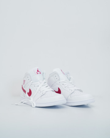 Jordan 1 Mid White University Red - White/University Red -13730