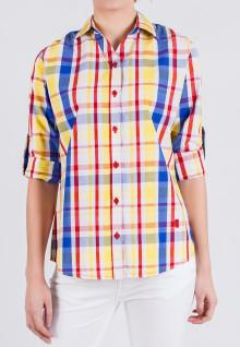 Regular Fit - Kemeja Wanita - Kuning/Biru/Merah - Plaid Shirt