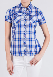 Regular Fit - Ladies Shirt - Blue/White - Plaid Shirt