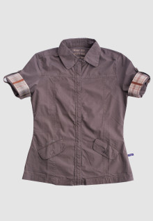 Regular Fit - Ladies Shirt - Brown - Short Sleeve
