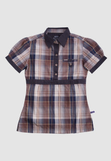Regular Fit - Ladies Shirt - Brown - Plaid Shirt