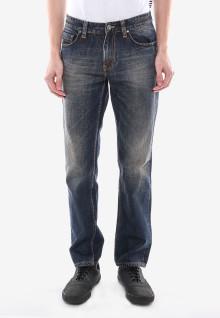 Slim Fit - Jeans Panjang - Biru Abu - Detail Whisker