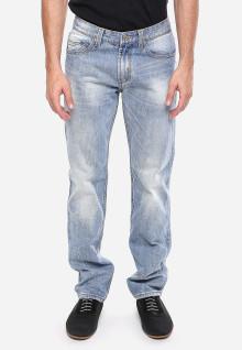 Slim Fit - Jeans Premium - Biru Cerah - Aksen Washed - Whisker