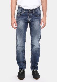 Slim Fit - Jeans Panjang - Biru - Aksen Washed