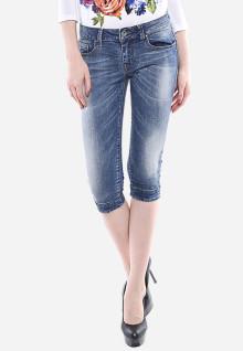Celana Capri - Biru - Slim Fit - Jeans Premium - Detail Whisker