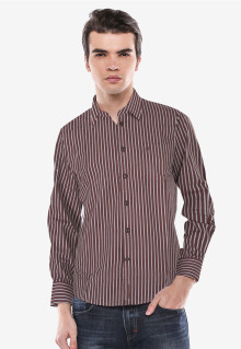 Slim Fit - Kemeja Formal - Coklat - Garis Salur