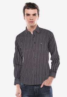 Slim Fit - Kemeja Formal - Hitam - Garis Salur