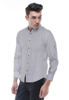 Slim Fit - Kemeja Formal - Abu - Motif Gingham
