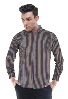 Slim Fit - Kemeja Formal - Coklat/Hitam - Garis Salur