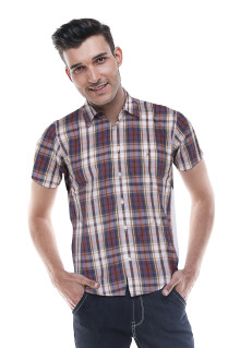 Regular Fit - Formal Shirt - Brown/Blue/Gray - Plaid Shirt