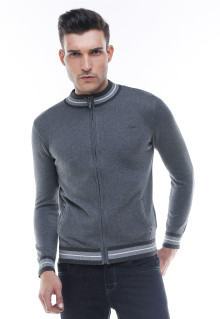 Sweater Casual - Kerah Round neck - Resleting - Abu