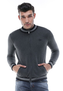 Sweater Casual - Kerah Round neck - Resleting - Abu Gelap