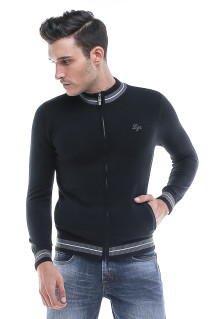 Sweater Casual - Kerah Round neck - Resleting - Hitam