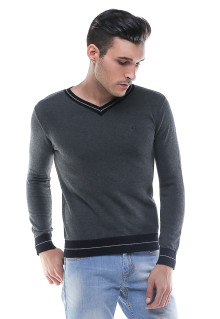 Sweater Casual - Kerah V-neck - Abu
