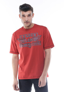 Regular Fit - Kaos Casual - Sablon Logo - Merah