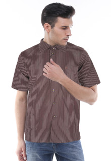 Slim Fit - Kemeja Formal - Coklat - Salur