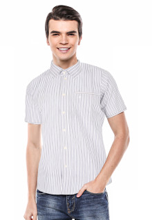 Slim Fit - Kemeja Formal - Putih - Garis-garis