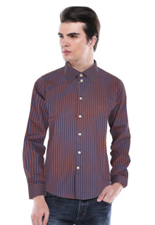 Slim Fit - Kemeja Formal - Coklat/Biru - Salur