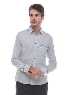Slim Fit - Kemeja Formal - Motif Polkadot - Lengan Panjang - Putih