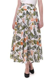 Long Skirt - Motif Bunga - Putih