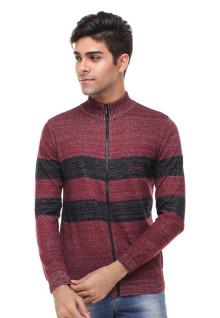 Sweater Pria - Garis Hitam - Merah