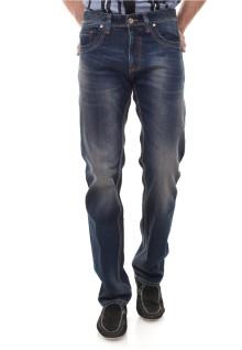 Slim Fit - Jeans Panjang - Detail Washed - Biru