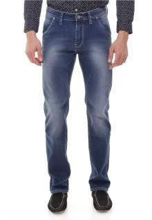 Slim Fit - Jeans Panjang - Washed Detail - Biru
