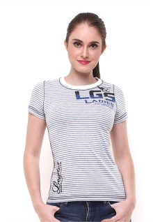 Regular Fit - Kaos Wanita - Motif Garis - Logo LGS - Abu