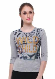 Regular Fit - Kaos Wanita - Gambar Sablon - Lengan Panjang - Abu