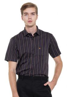 Slim Fit - Formal Shirt - Black/Purple/Orange - Short Sleeve