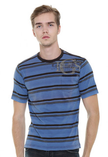 Regular Fit - Stripe Tee - Blue/Gray - Classic Styles