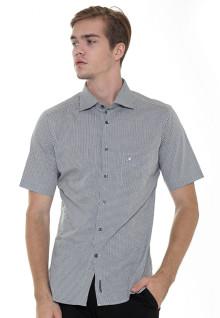 Slim Fit - Formal Shirt - White/Black - Short Sleeve