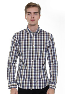 Slim Fit - Formal Shirt - Blue/Brown/White - Long Sleeve