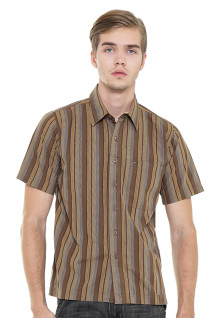 Regular Fit - Kemeja Casual - Coklat - Motif Bergaris
