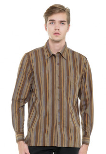 Regular Fit - Kemeja Casual - Coklat Muda - Motif Garis-garis