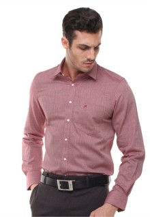 Slim Fit - Kemeja Formal - Bahan Tekstur - Merah