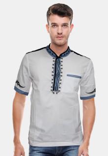 Baju Koko - Motif Bordil - Putih -Slim Fit