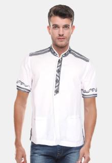 Baju Koko Motif Bordir Kancing - Putih - Slim Fit
