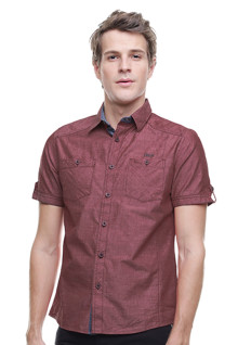 Slim Fit - Kemeja Fashion - Double Kantong - Merah