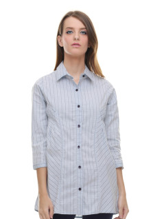 Regular Fit - Kemeja Wanita - Dress - Salur - Biru