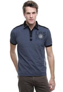 Slim Fit - Kaos Polo - Kerah Tinggi - Logo Dada - Abu