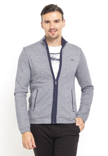 Sweater Pria - Full Zipper - Double Pocket - Abu